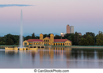 City Park in Denver with boathouse Ferril Lake - Fountain...