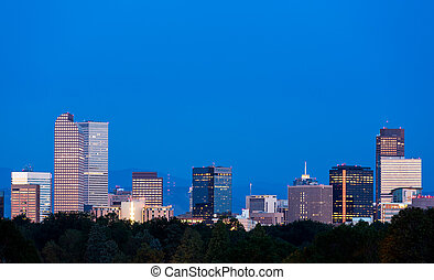 Skyline of Denver at dawn - City skyline of Denver Colorado...
