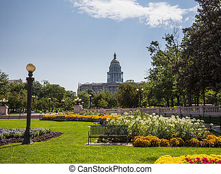 Gardens in front of State Capitol Denver - Flower beds and...