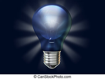 A regular blue light bulb with stylized irradiating rays on an isolated dark blue background