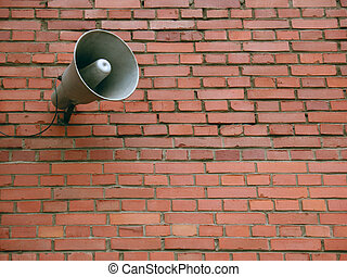 bullhorn - old brickswall and retro bullhorn