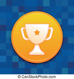 Vector gamification badge with white cup