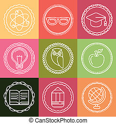 Vector education icons and logos in outline style - set of...