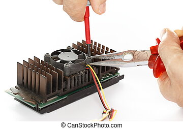 fix an electrical component - man is fixing an electrical...