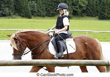 niña, equitación