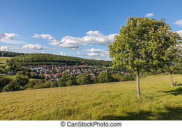 Village of Engenhahn in the Taunus mountains, Hesse, Germany