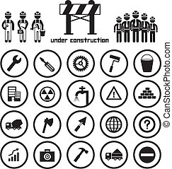 construction icon set - construction team vector icon set