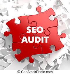 SEO Audit on Red Puzzle - SEO Audit on Red Puzzle on White...