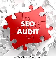 SEO Audit on Red Puzzle. - SEO Audit on Red Puzzle on White...