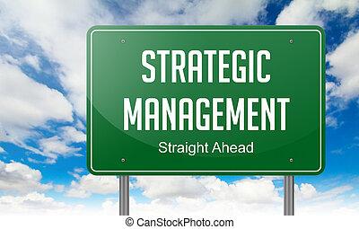 estratégico, gerência, Rodovia, signpost