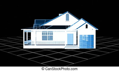 Wire-frame house - 3d Wire-frame house in HD