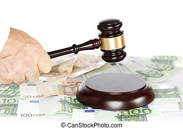 concept with gavel and money