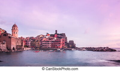 vernazza day to night timelapse - vernazza cityscape cinque...