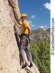 3º edad, hombre, De arranque, roca, subida, Colorado