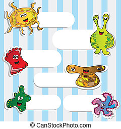 Cartoon cute monsters - vector stikers set for design