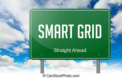Smart Grid on Highway Signpost. - Highway Signpost with...