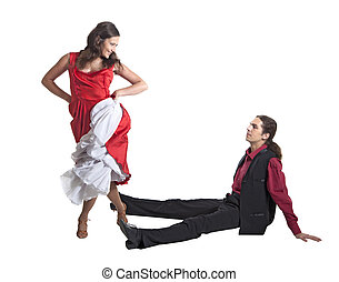 Flirting couple - Couple in retro swing clothes isolated...