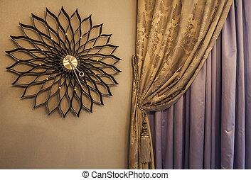 mur, horloge, rideaux, intérieur