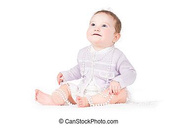 ENGRAÇADO, elegante, bebê, menina, tocando,...