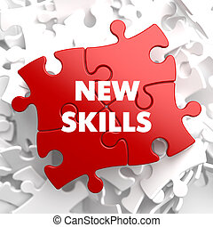 New Skills on Red Puzzle - New Skills on Red Puzzle on White...