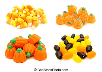 Halloween candy - Four individual piles of Halloween candy...