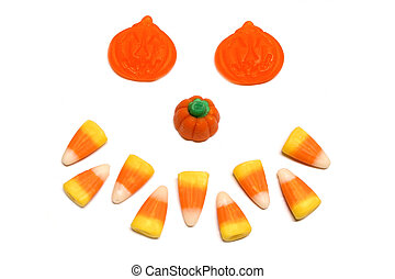 Halloween candy face - Jack-o-Lantern face made of assorted...