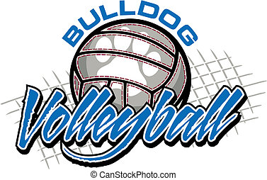 bulldog volleyball design with ball and paw print