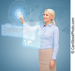 smiling businesswoman working with virtual screen -...