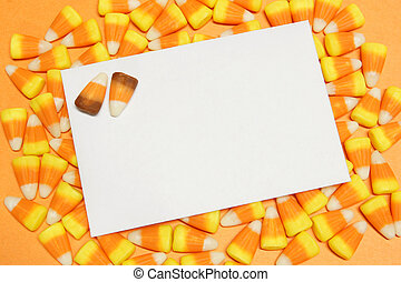 Halloween candy corn background - Blank greeting card on a...