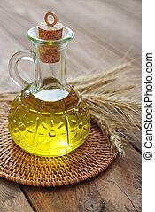 Wheat oil  - Wheat grain and wheat germ oil in bottle