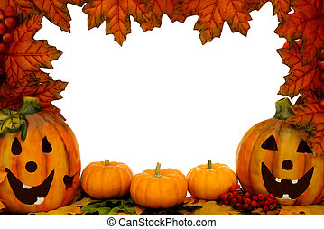Jack-o-lantern border - Halloween border over white with...