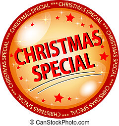 golden christmas special button - illustration of a golden...