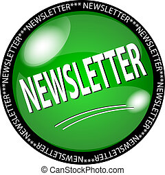 green newsletter button - illustration of a green newsletter...