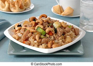 Cashew Chicken - Delicious cashew chicken heaped on top of a...
