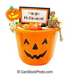 Happy Halloween - Halloween candy holder full of candy with...