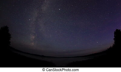 Starry sky over the lake Moiseevskoe, Valdaysky district,...