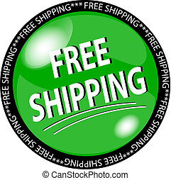 green free shipping button - illustration of a green free...
