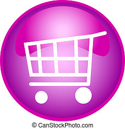 purple shopping button - illustration of a purple shopping...