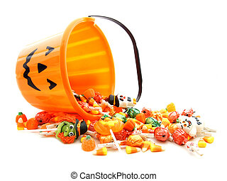 Halloween candy - Halloween jack-o-lantern pail with...