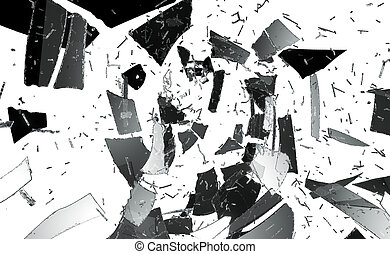Pieces of destructed or Shattered glass isolated on white