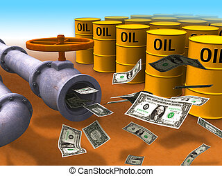 Energy cost - Dollar stream coming out of some oil pipes....