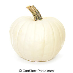 Isolated white pumpkin - White autumn pumpkin isolated on a...