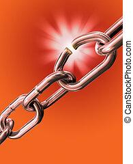 Breaking chain - Breaking link in a metal chain. Digital...