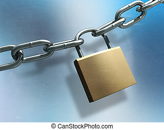 Chain and lock - Metal lock closing a chain. Digital...