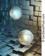 Data spheres floating in a high technology space. Digital...