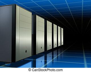 Servers network - A network of computer servers. Digital...