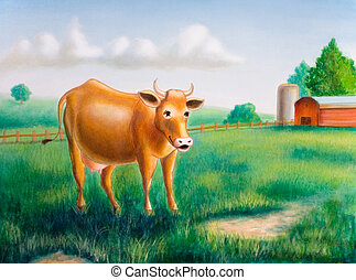 Cow and farm - A cow in a sunny farm landscape. Hand painted...