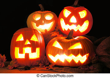 Halloween Jack o Lanterns - Group of Halloween Jack o...