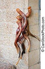 ramo, shofars, o, judío, religioso, cuernos