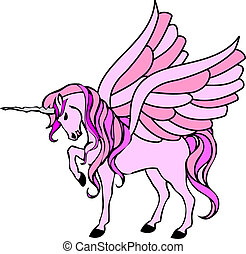 pink unicorn with wings - illustration of a pink unicorn...